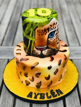 glutenvrije taart met airbrush panter
